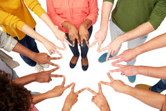 Group of international people showing peace sign Stock Images
