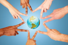 Group of international people showing peace sign Stock Image