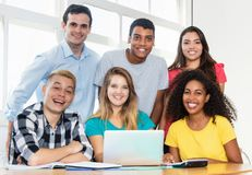 Group of international students learning website design. At classroom of university stock image