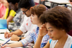 Group of international students on lecture stock photos
