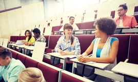 Group of international students talking on lecture stock photos