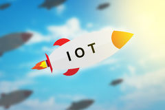 Group of IOT or internet of things flat design rocket Royalty Free Stock Photos