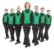 Group of irish dancer isolated. On white royalty free stock image