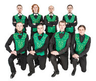 Group of irish dancer isolated. On white royalty free stock photography