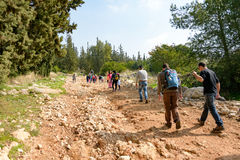 Group of Isaraeli fourth grade school kids. JERUSALEM - FEB. 11, 2017: Group of Isaraeli fourth grade school kids and their parents on a field trip in a forest Royalty Free Stock Photography