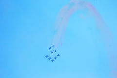 Group of italian airplanes Frecce Tricolori Royalty Free Stock Photos