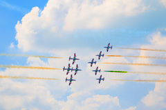 Group of italian airplanes Frecce Tricolori Stock Image
