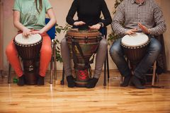 Group of Jambe drummers playing Stock Image