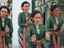 A group of Javanese traditional dancer taken in Yogyakarta, Indonesia royalty free stock images