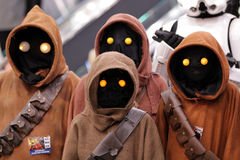 Group of Jawa into the comic con in Montreal. MONTREAL-CANADA SEPT 13 2014:  Group of fans disguised in to Jawa, Star Wars personage at congress center in Royalty Free Stock Photo