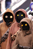 Group of Jawa into the comic con in Montreal. MONTREAL-CANADA SEPT 13 2014:  Group of fans disguised in to Jawa, Star Wars personage at congress center in Royalty Free Stock Image