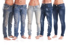 Group of jeans. Group of young men and women with jeans Stock Images