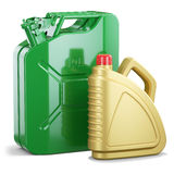 Group of jerry can and plastic motor oil canister Stock Photos