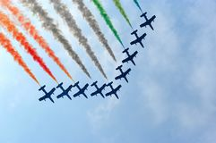 Group of jet planes. Italian aviation group Frecce tricolori performing ab arrow formatino on airshow in Slovenia Royalty Free Stock Photo
