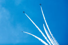 Group of jets in the sky. Group of jets in the blue sky stock images