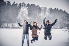 A group of joyful friends having fun together in a snowy forest. A group of joyful friends having fun together, hiking on a snowy forest stock photos