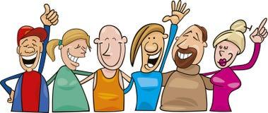 Group of joyful people. Cartoon  illustration of group of joyful people Royalty Free Stock Photos