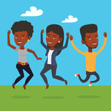 Group of joyful young friends jumping. Royalty Free Stock Photography