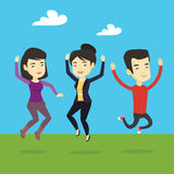Group of joyful young people jumping. Royalty Free Stock Images