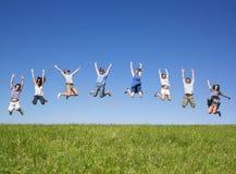 Group jumping royalty free stock photo