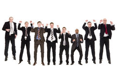 Group of jumping businessmen Stock Photos