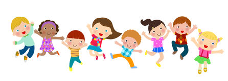 Group of jumping kids. Illustration of group of jumping kids Stock Photo
