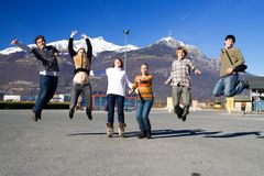 Group of jumping people Stock Photo