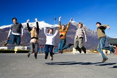 Group of jumping people Stock Images
