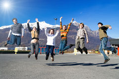 Group of jumping people Stock Image