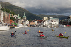 A group of kayakers Stock Images