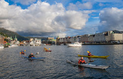 A group of kayakers Stock Photo