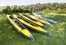 Group of kayaks Stock Photography