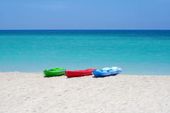 Group of kayaks in a beach Royalty Free Stock Image