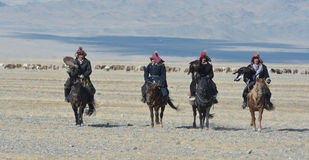 Group of Kazakh Eagle Hunters in the Altai Royalty Free Stock Photo