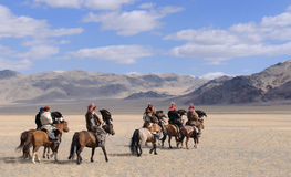 Group of Kazakh Eagle Hunters in the Altai Stock Image