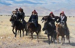 Group of Kazakh Eagle Hunters Stock Image