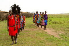 Group of kenyan of Masai tribe Stock Photography