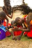 Group of kenyan of Masai tribe Royalty Free Stock Image