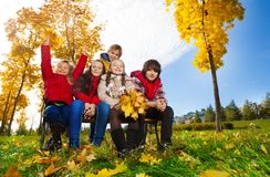 Group of kid in the autumn park Royalty Free Stock Photo