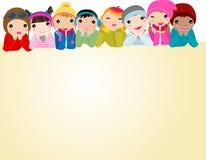 Group of  kids. Cartoon art Stock Photography