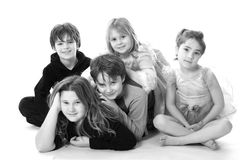 Group of kids. Big group of kids from all ages. Young teens to kindergarten age Royalty Free Stock Photos