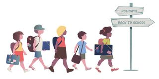 Group of kids with backpacks, briefcases, folders and books, back to school. stock illustration