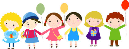 Group of kids and balloon Stock Image