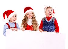 Group kids with banner . Royalty Free Stock Images