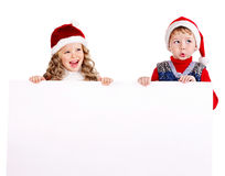 Group kids with banner . Stock Images