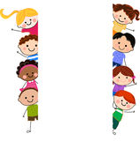 Group of kids and banner. Cartoon Stock Photo