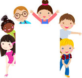Group of kids and banner Stock Image