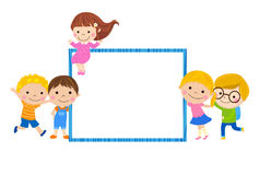 Group of kids and banner Royalty Free Stock Image