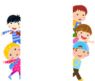 Group of kids and banner Royalty Free Stock Photo