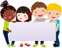 Group of kids and banner. Cartoon Royalty Free Stock Image